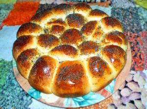 Пирог из булочек с ветчиной фото