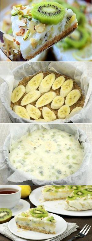 Йогуртовый низкокалорийный торт с киви и бананом