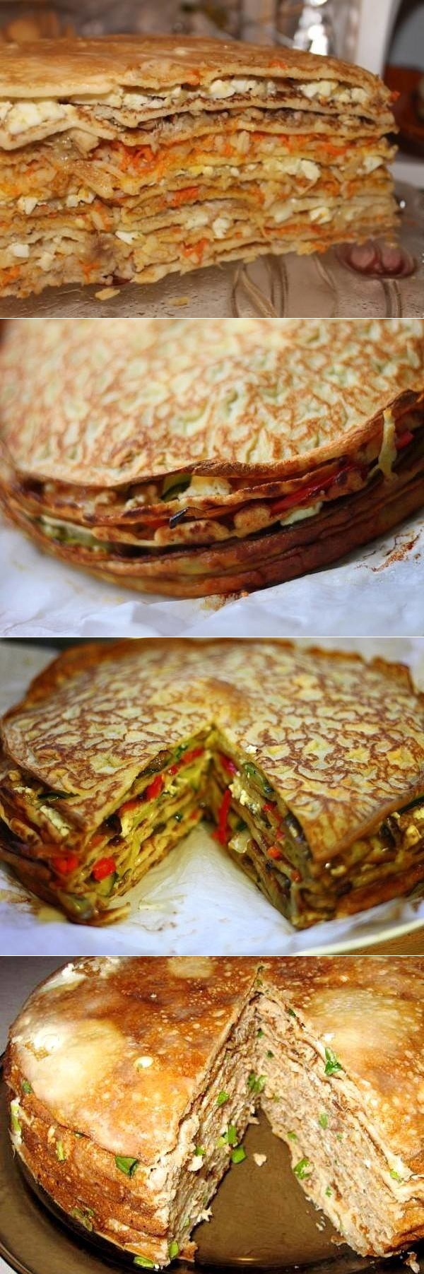 Торт закусочный «Мечта» с овощной и сырной начинкой — сытное и очень красивое блюдо.