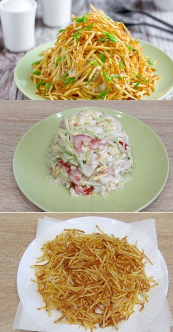 http://vkusnogotovym.ru/salat-muravejnik-s-kuricej-i-kartofelnoj-solomkoj-smetaetsya-momentalno-etot-recept-vyprashivayut-vse-gosti