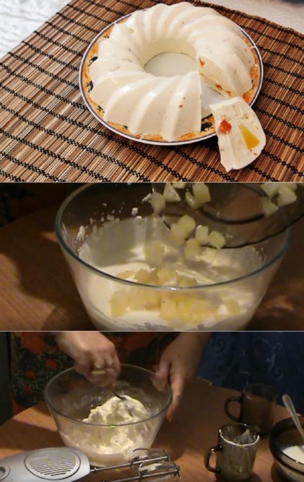 Наслаждаемся по пятницам: смешиваем творог со сгущенкой, сметаной и ванилином. Шикарное сочетание творога и ананаса.