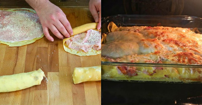 Блинная запеканка с ветчиной и сыром. Вкуснятина нереальная.