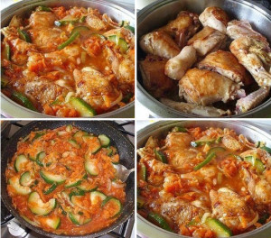 курица с кабачками в соусе