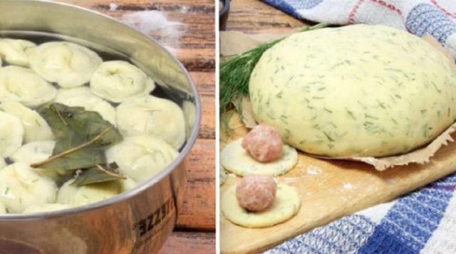 Вкуснейшие пельмени из теста с зеленью