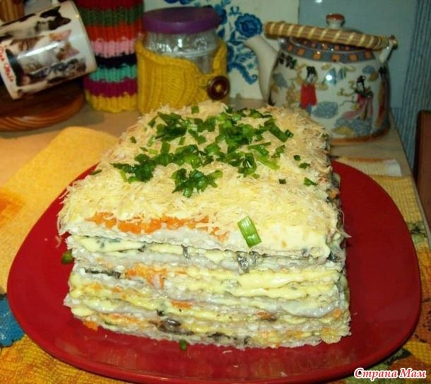 Селедочный торт на вафельных коржах - ни один гость не ушел, не попросив этот рецепт