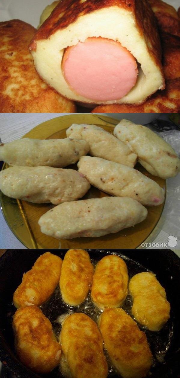 Картофельные пирожки с сосисками.
