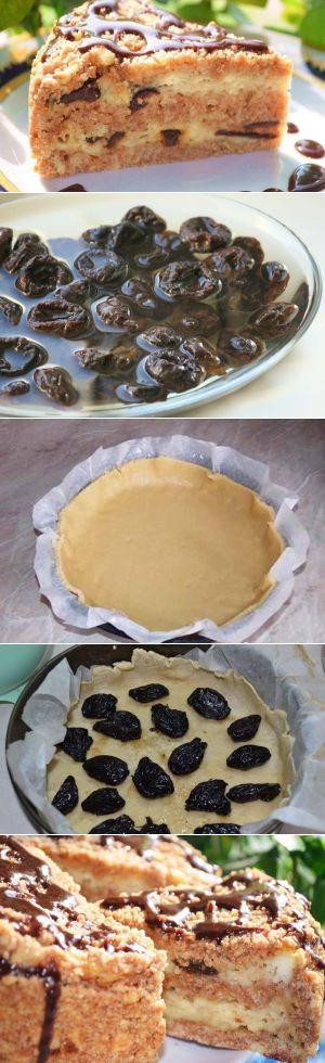 Пирог с черносливом и творогом без яиц