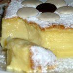 Умное пирожное «Умное пирожное» – это очень оригинальный и в то же время простой в приготовлении десерт. Список ингредиентов яйца — 4 шт соль — по вкусу мука — 115 г сливочное масло — 125 г молоко — 500 м сахар — 150 г вода — 1 ст. ложка Способ приготовления Белки отделить от желтков, взбить с щепоткой соли до устойчивой пены. Масло растопить, слегка остудить. Желтки взбить с сахаром и водой. Добавить масло. Всыпать муку, влить молоко. Всё хорошо перемешать. Аккуратно подмешать белки. Форму смазать маслом и посыпать мукой. Вылить тесто. Запекать при 180 гр. 1 час. Остудить, посыпать сахарной пудрой, украсить по желанию. Приятного аппетита!