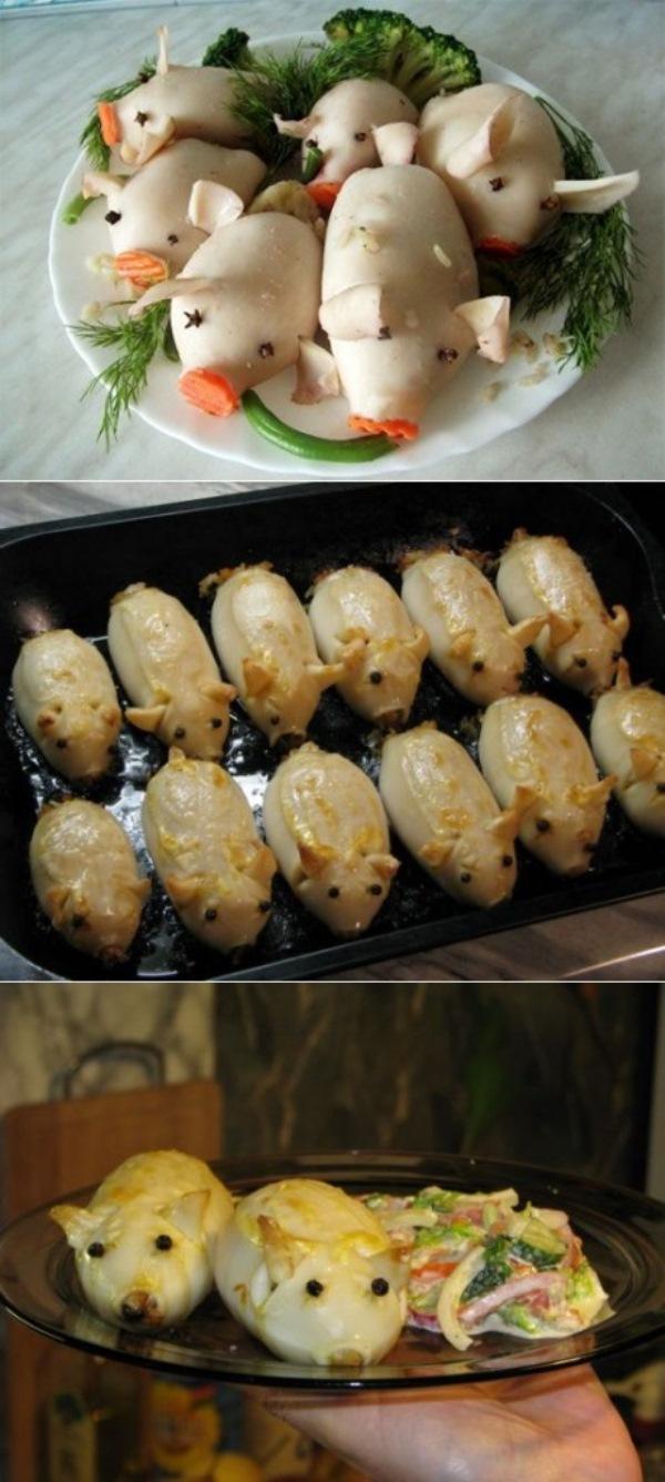 «Шустрые поросята» — закуска из кальмаров. Оригинальный внешний вид приведет в восторг гостей!