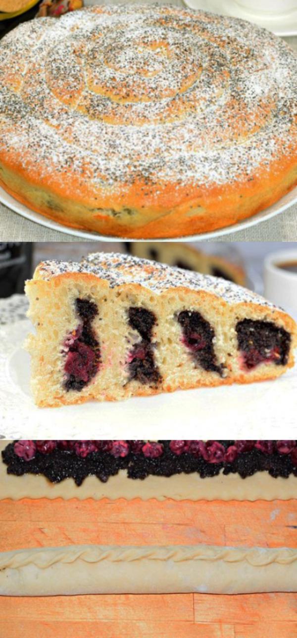 Пирог с вишней и маком «Крученый». Мягкий, пышный, нежный, вкусный и красивый пирог. В меру сладкий, с легкой, свежей вишневой кислинкой и чудесным маковым ароматом.