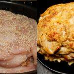 Куриная грудка «Два сыра». Запекаю к празднику вместо большого куска свинины. Просто нарежь филе очень тонко.