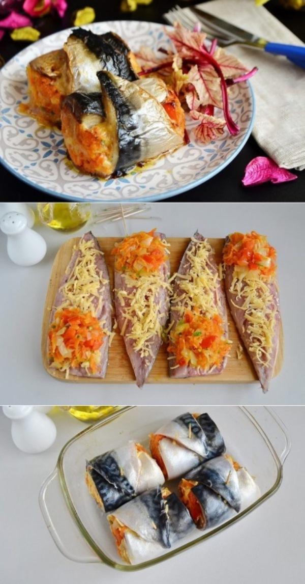 Рулеты из скумбрии с сыром и овощами просто нечто! Обязательно попробуйте!
