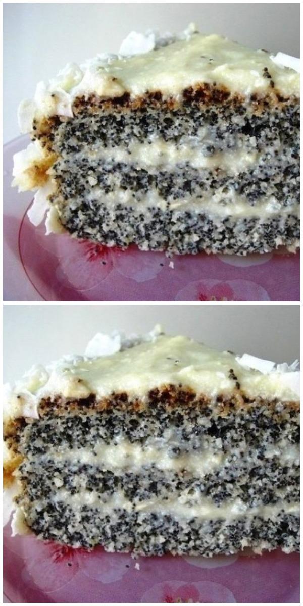 Кокосовый торт с маком – вкусно, как по волшебству.