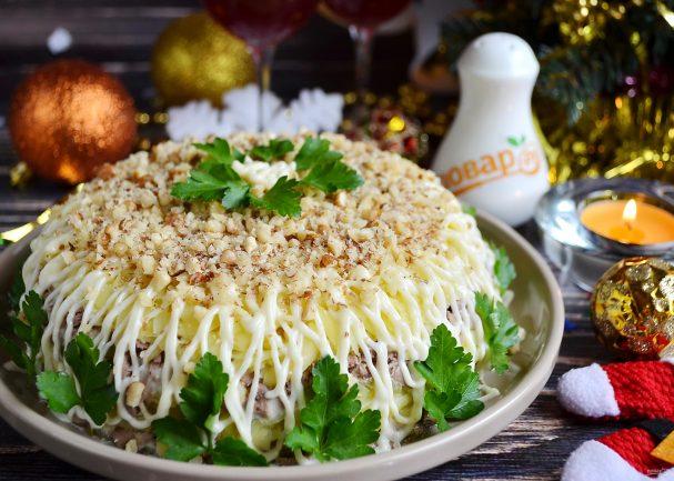 Новогодний салат с печенью