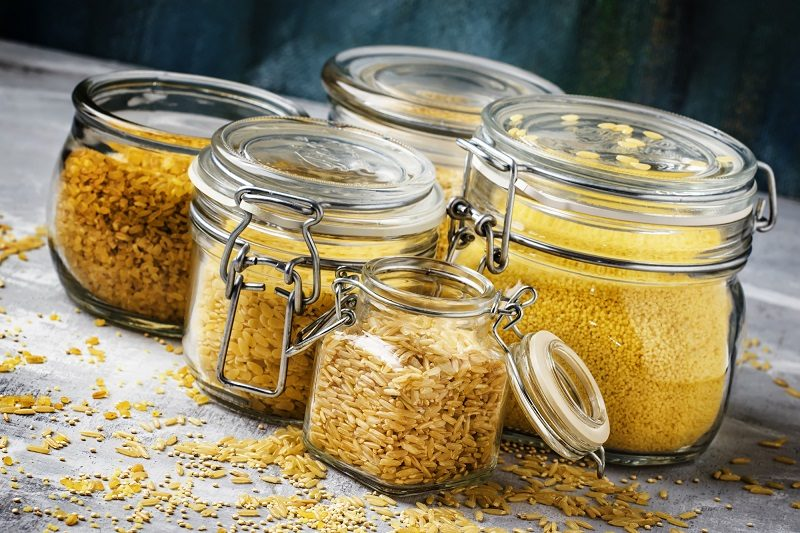 assorted-cereals-and-grains-in-glass-jars-for-storage-selective